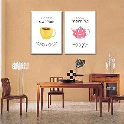 Abstracto tetera y taza de café No cuadros en lienzo con marco, 2 ...
