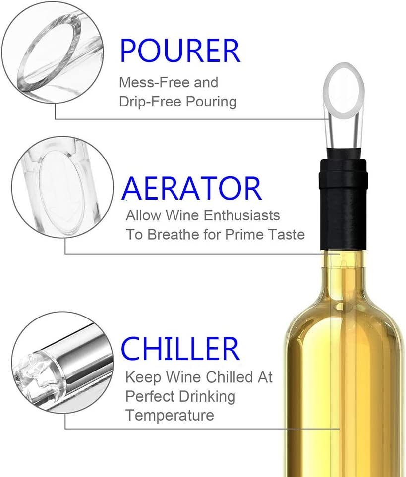 Rapid Iceless Wine Cooler Wine Bottle Cooling Rod JADACA 3-in-1 Stainless Steel Wine Chiller Stick with Aerator and Pourer