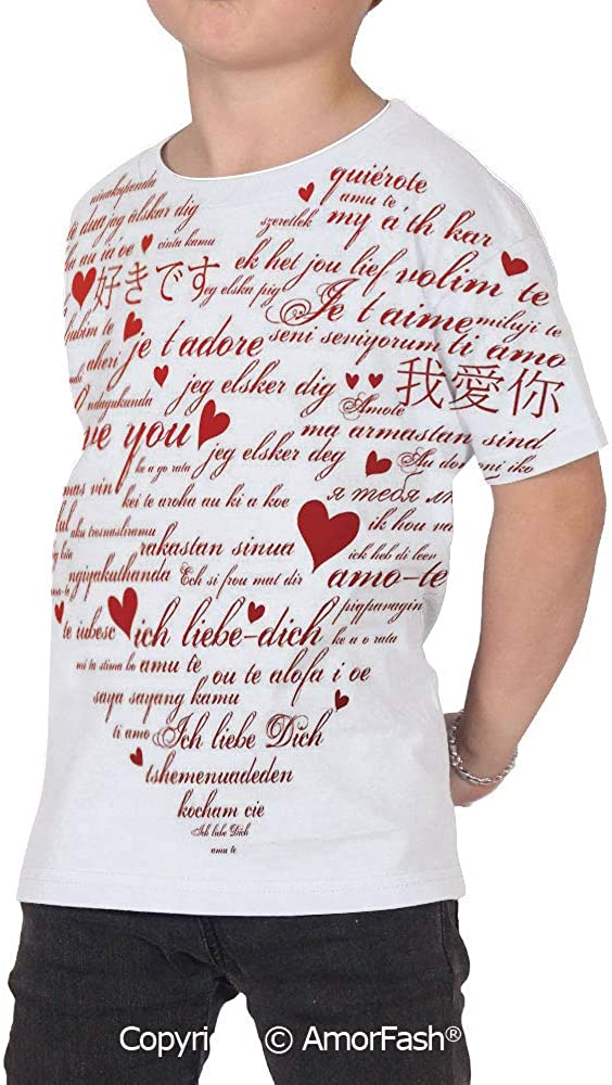I Love You Girls Short-Sleeve Midweight T-Shirt,Polyester,Love Words in Various