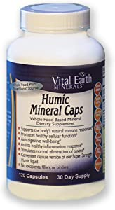 Vital Earth Minerals Humic Mineral Caps - 120 capsules - 30 Day Supply - Whole Food Plant Based Ionic Trace Minerals -Vegan Multimineral Supplement - Great for Travel!