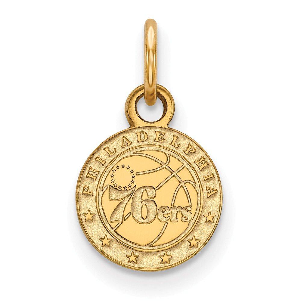 Roy Rose Jewelry 14K Yellow Gold NBA LogoArt Philadelphia 76ers X-small Pendant / Charm