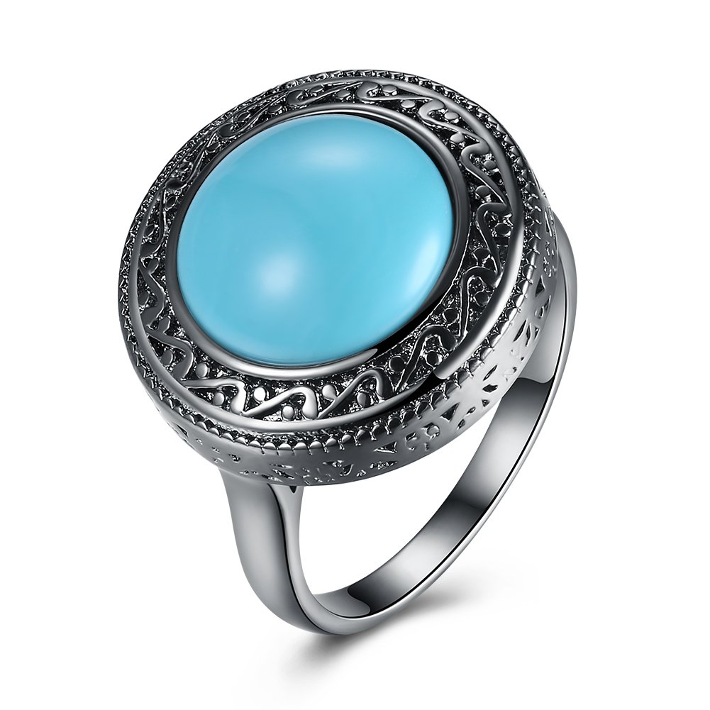 Bohenmia Green Turquoise Engagement Solitaire Ring Band Style Natural Stone Party Wear Evening Dress