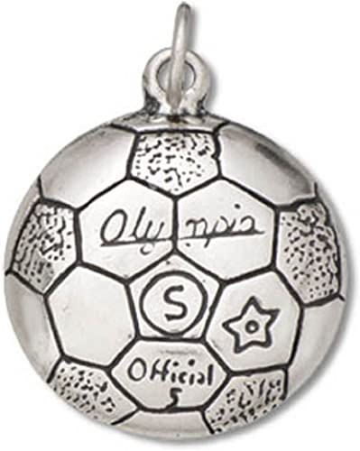 Sterling Silver Womens 1mm Box Chain Olympia Soccer Ball Pendant Necklace
