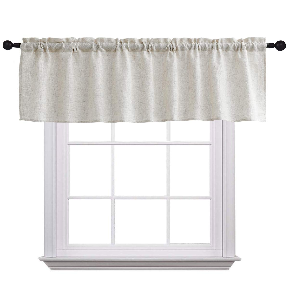 Curtain Valances for Windows Burlap Linen Window Curtains for Kitchen Living Dining Room 58 x 15 inches Rod Pocket 1 Valance Crude
