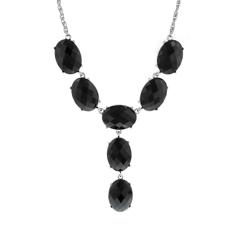 1928 Jewlery Silver-Tone Black Oval Faceted Y-Neck Drop Necklace 15 Adj.