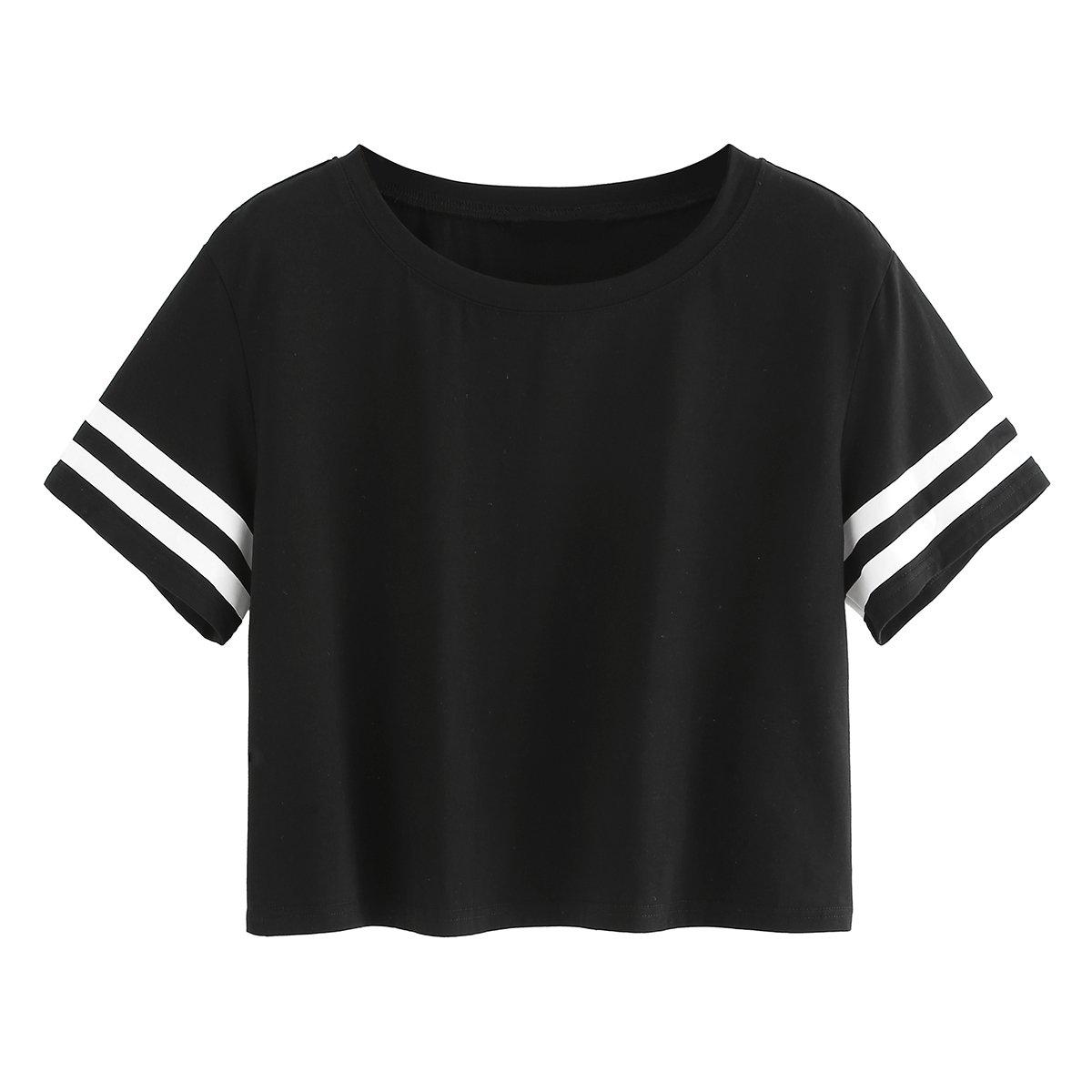SweatyRocks Women's Striped Short Sleeve Crewneck Crop Top Tshirt Black #1 XS