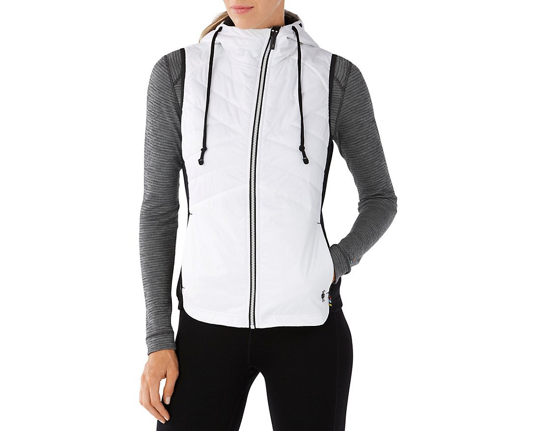 Smartwool Women's Double Propulsion 60 Hooded Vest (Black/White) Large
