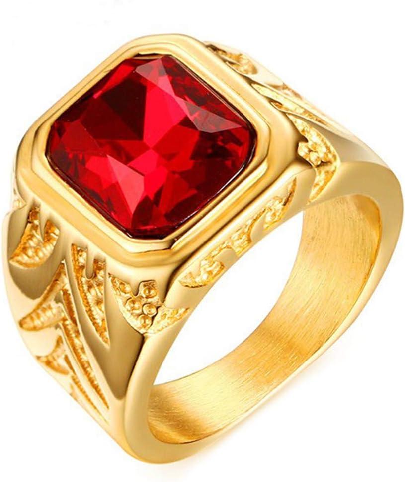Simplicidad con Estilo Anillos de Piedras Preciosas de Rubí Dorado de Diamantes de Imitación Rojos de 15,5 Mm para Hombre, Talla X, LQS, r