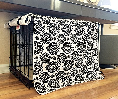 Black & White Damask Design Dog Pet Wire Kennel Crate Cage Cover (Small, Medium, Large, XL, XXL) (LARGE 36x24x27')