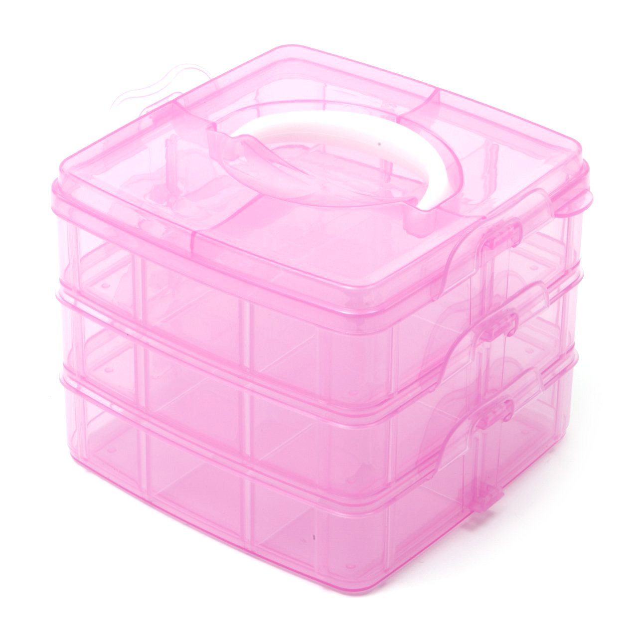Plastic craft storage boxes - Pink 3 Tier Adjustable 18 Compartment Slot Plastic Craft Storage Box Jewellery Tool Container Small