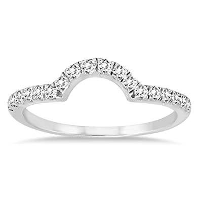 Amazon Com 3 8 Carat Tw Curved Diamond Wedding Band In 10k White