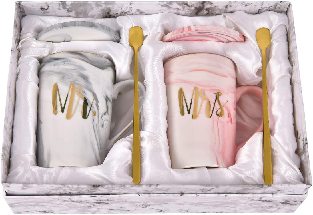 Mr and Mrs Couple Marble Coffee Mug Set Engagement Wedding Gifts for Bride and Groom Mr and Mrs Mugs Bridal Shower Gifts for Married Couples Anniversary Ceramic Marble Cups 14 Ounce with Gift Box