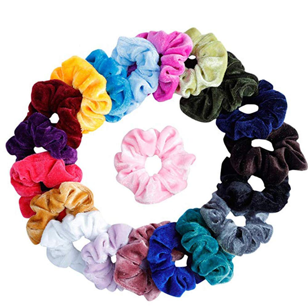 50Pcs Hair Scrunchies Velvet Elastic Hair Bands Scrunchy Hair Ties Ropes Scrun