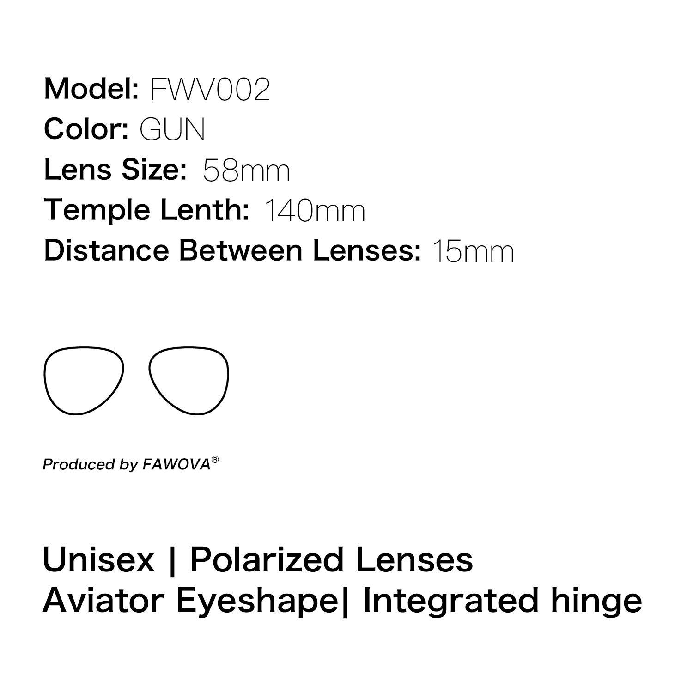 58mm,CE UV400 Cat.3 fawova 2019 Gafas de Sol Aviador Polarizadas Hombre Gafas Sol Hombre Militares Unisex