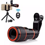Cell Phone Camera Lens with Remote and Tripod, 12X Telephoto HD Zoom Lens Kit for iPhone X, 8, 7, 6s Plus / Samsung and Smartphones