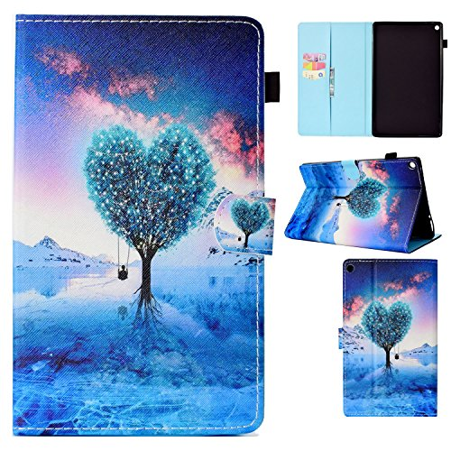 (Uliking Fire HD 10 Tablet Case (7th Generation 2017 & 5th Gen 2015 Release PU Leather Folio Stand with Card & Stylus Slot Auto Sleep/Wake Cover for Amazon Fire HD)