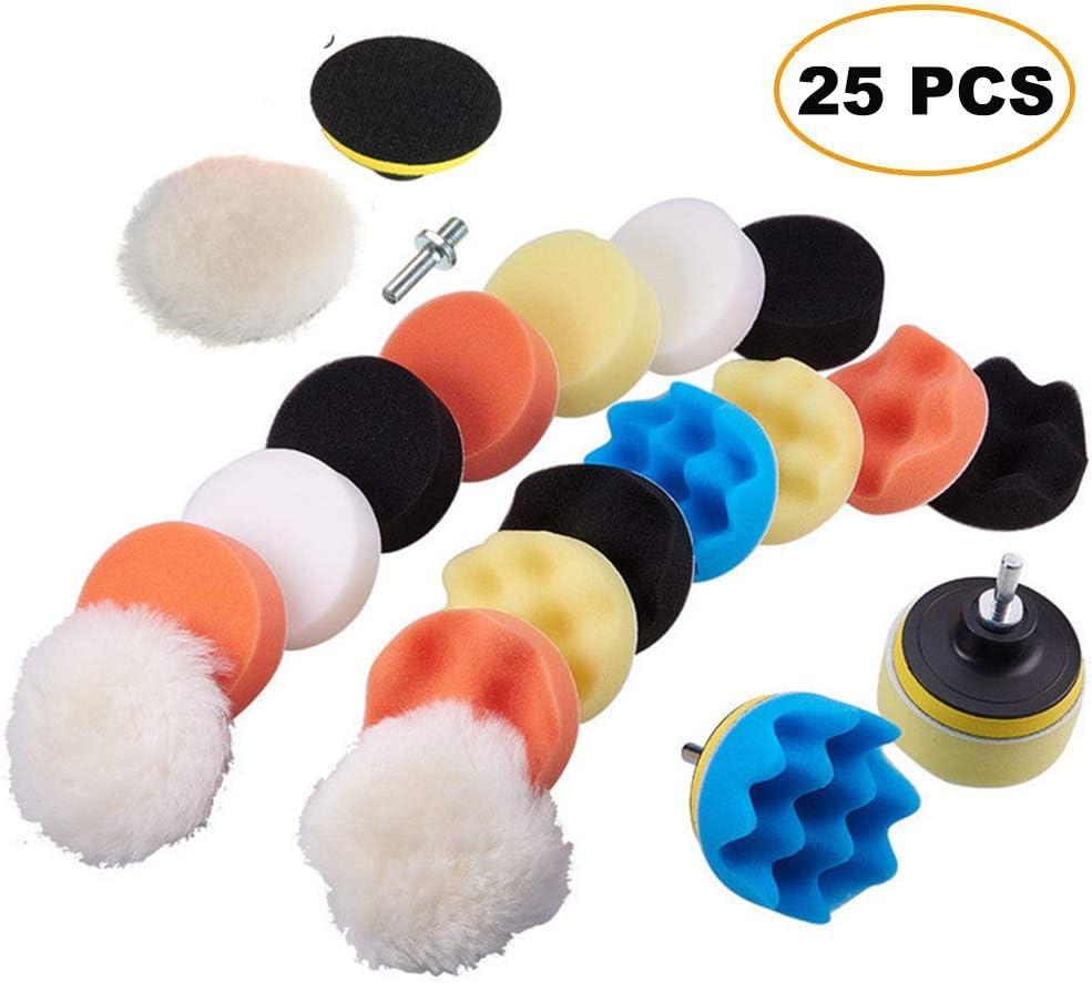 3 Sponge Polishing Pads Waxing Polishing Sealing Glaze Compound Drill Buffing Sponge Pads 19 PCS M10 Drill Adapter Buffing Sponge Pads Kit for Car Sanding