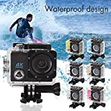 Hanbaili (Silver)Action Camera, 4K Ultra HD Waterproof Sport Camera 2 Inch LCD Screen 12MP 90 Degree Wide Angle