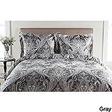 2pc Gray Paisley Twin Size Duvet Cover Set, Red Damask Grey Medallion Geometric Floral Bedding, Antique Modern Sleek Bohemian Stylish Rich, Cotton