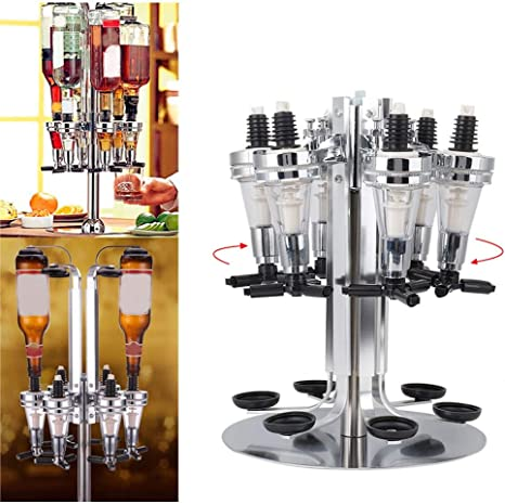 4//6 Bottle Liquor Dispenser Optic Alcohol Caddy Party Rotating Bar Shot Pourer