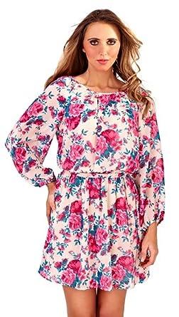 16346a3a7c98 Lora Dora Womens Long Sleeve Chiffon Dress Short Tunic Top Tie Belt Mid  Knee Length Summer
