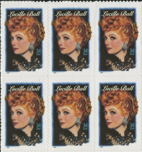 - Lucille BALL ~ LEGENDS OF HOLLYWOOD #3523 Block of 6 x 34¢ US Postage Stamps