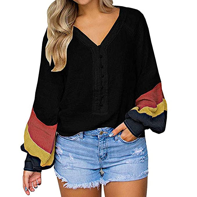 7b47094e327 Staron Womens Baggy Patchwork Shirts Colorblock Long Sleeve Loose T-Shirt  Top Blouse: Amazon.ca: Clothing & Accessories