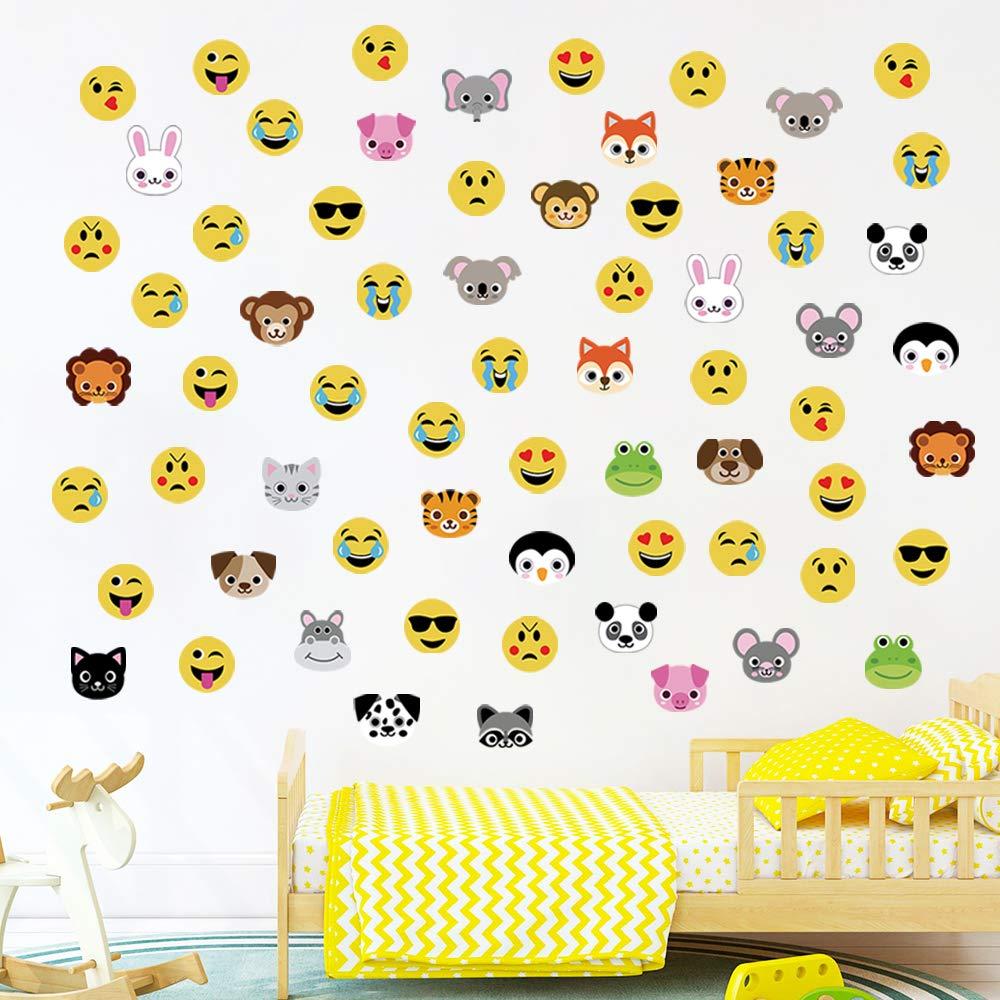 36 Emoji et 30 Animaux decalmile Stickers Muraux Emoji Animaux Autocollant D/écoratifs Singe Enfants D/écorations Murales Chambre Enfants B/éb/é P/épini/ère Salon