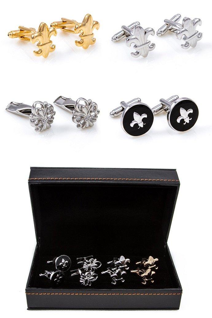 MRCUFF Fleur De Lis Pair 4 Pairs Cufflinks in a Presentation Gift Box & Polishing Cloth ... (Fleur 4b)