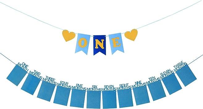 Bleu Set Banderole 1er Anniversaire Cadre Photo Banni/ère B/éb/é 1-12 Mois avec Points de Colle pour Photo Prop Baby Shower D/écoration ZoomSky Guirlande Anniversaire 1 an