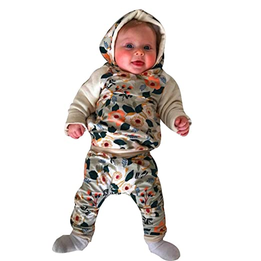 1c507a92b Amazon.com  Infant Outfits-2pcs Toddler Baby Hoodie Tops+Pants ...