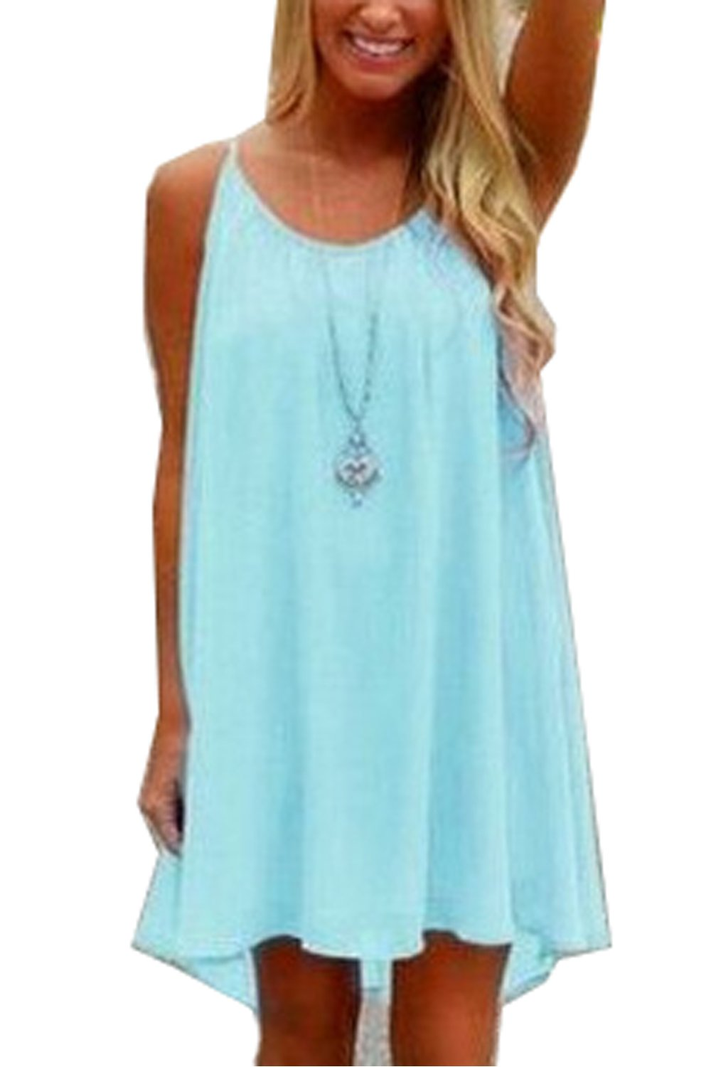 Amstt Womens Summer Sexy Vibrant Color Chiffon Dress Bathing Suit Cover up (M, Light Blue)