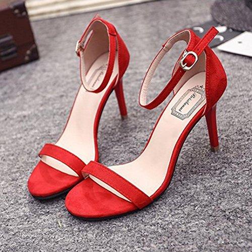 Longra Open Spring Ankle Block Sandals Heels High Summer Shoes Open Party Wedges Red Toe Women's tqntrxP