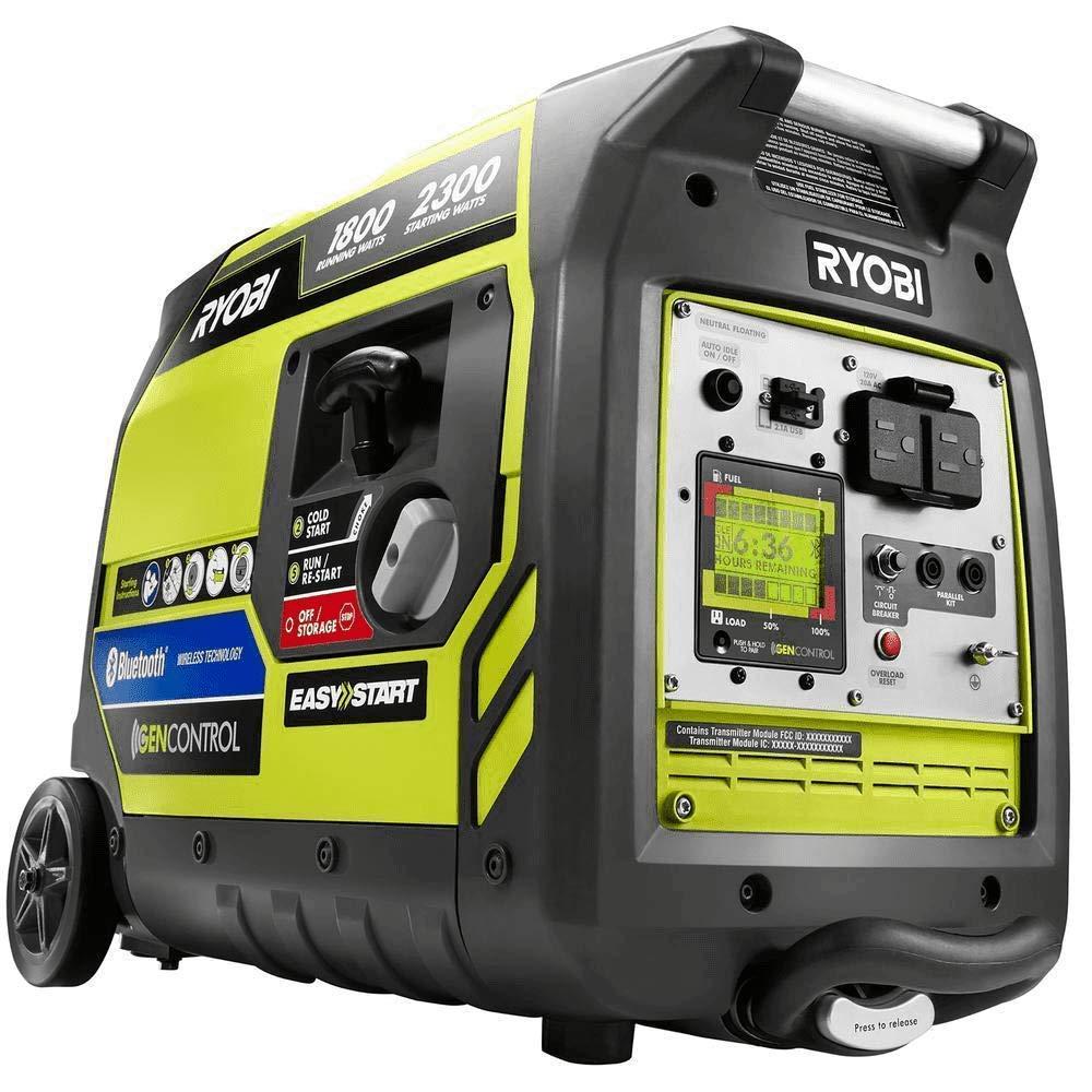 Ryobi Bluetooth 2,300-Watt Super Quiet Gasoline Powered Digital Inverter Generator RYI2300BTA