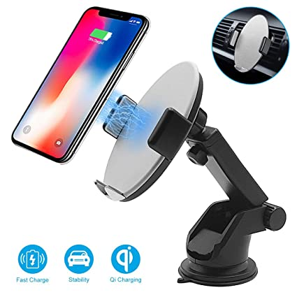 Automatic Sensor Wireless Car Charger, Smart Touch Qi 10W Fast Wireless Charger Car Air Vent & Dashboard Car Phone Holder for iPhone Xs ...