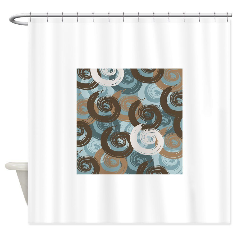 Amazon.com: CafePress - Abstract curls teal brown Shower Curtain ...