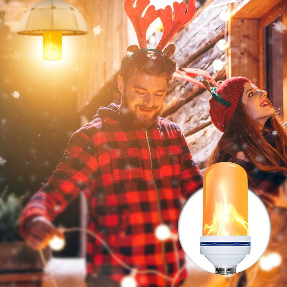 LED Light Bulbs -2018 Upgrade Version Flickering Flame Fire Bulb Lights Built-in Gravity Sensor Upside Down Vintage Atmosphere Flickering Fire Effect Decorative Light ( 1 Mode: Flicker Only)