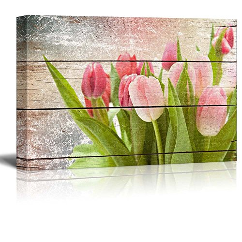 Pink and Fuschia Tulips Rustic Floral Arrangements Pastels Colorful Beautiful Wood Grain Antique