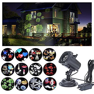[Latest Projector Lights] 12 Pattern Gobos [Garden Lamp] Lighting with IP65 Waterproof Sparkling Landscape Projector Light for Decoration Lighting on Christmas, Halloween, Holiday,Party