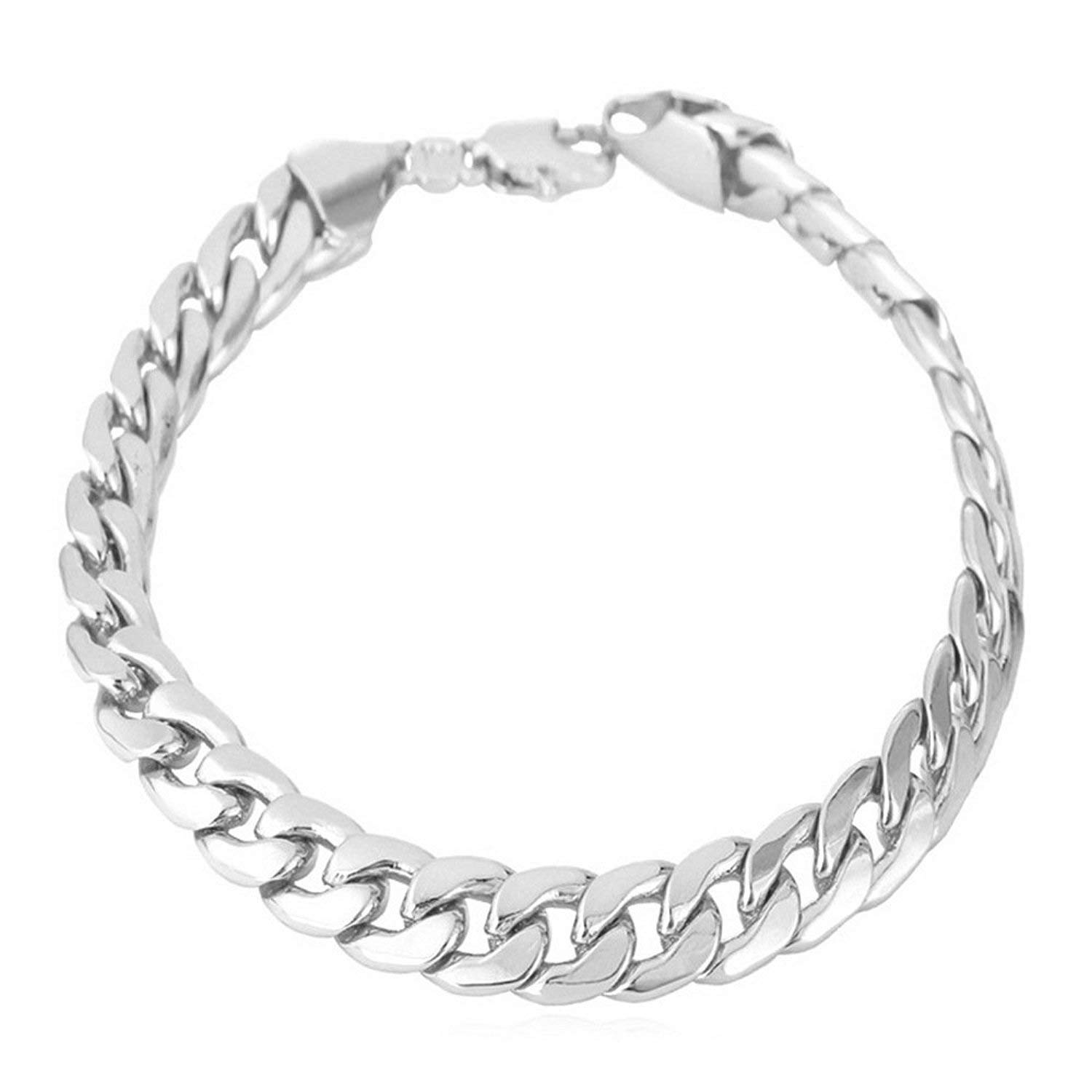 Moneekar Jewels 6mm Wide Curb Chain Bracelet for Men