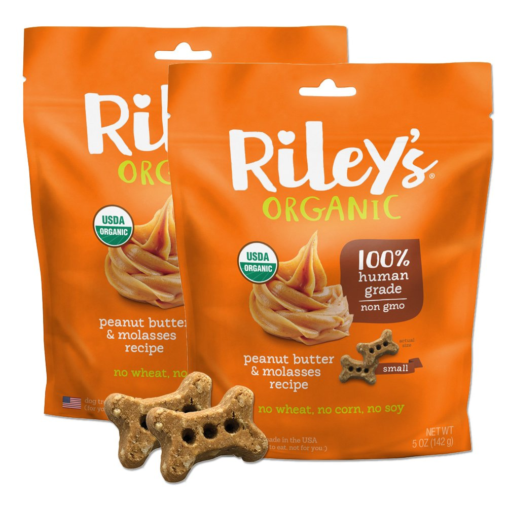 Riley s Organics – Peanut Butter Molasses – 5 oz Small Biscuits – Human Grade Organic Dog Treats – Resealable Bag