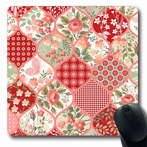 - LifeCO Computer Mousepad Pink Nature Patchwork Pattern Flowers Butterflies Abstract Bouquet Red Floral Multicolor Quilt Oblong Shape 7.9 x 9.5 Inches Oblong Gaming Non-Slip Rubber Mouse Pad Mat