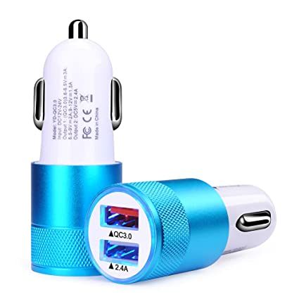 Car Charger,Sicodo 2-Pack 3.4A Dual USB Port 3.0 Rapid Car Charger Adapter Compatible with iPhoneX,8,8 Plus,7 Plus,7S,6 Plus,6S,iPad,Tablet,Samsung ...