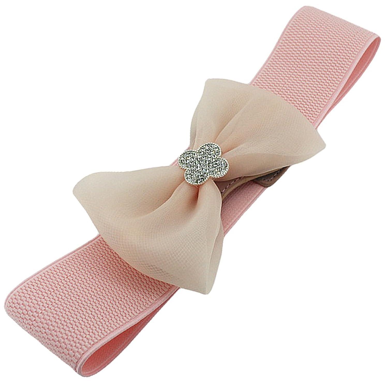 Deercon Women Elastic Lace Bow Stretch Buckle Waistband Waist Belt(3 colors)