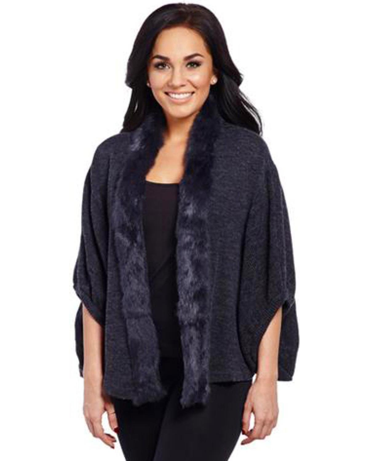 Cripple Creek Women's Charcoal Rabbit-Trimmed Sweater Charcoal Grey Small