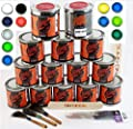 Custom Creative Urethane Pin-Striping Extended Set 2 Lettering Enamel-Pinstripe Urethane Paint KIT with Bonus by SprayGunner...
