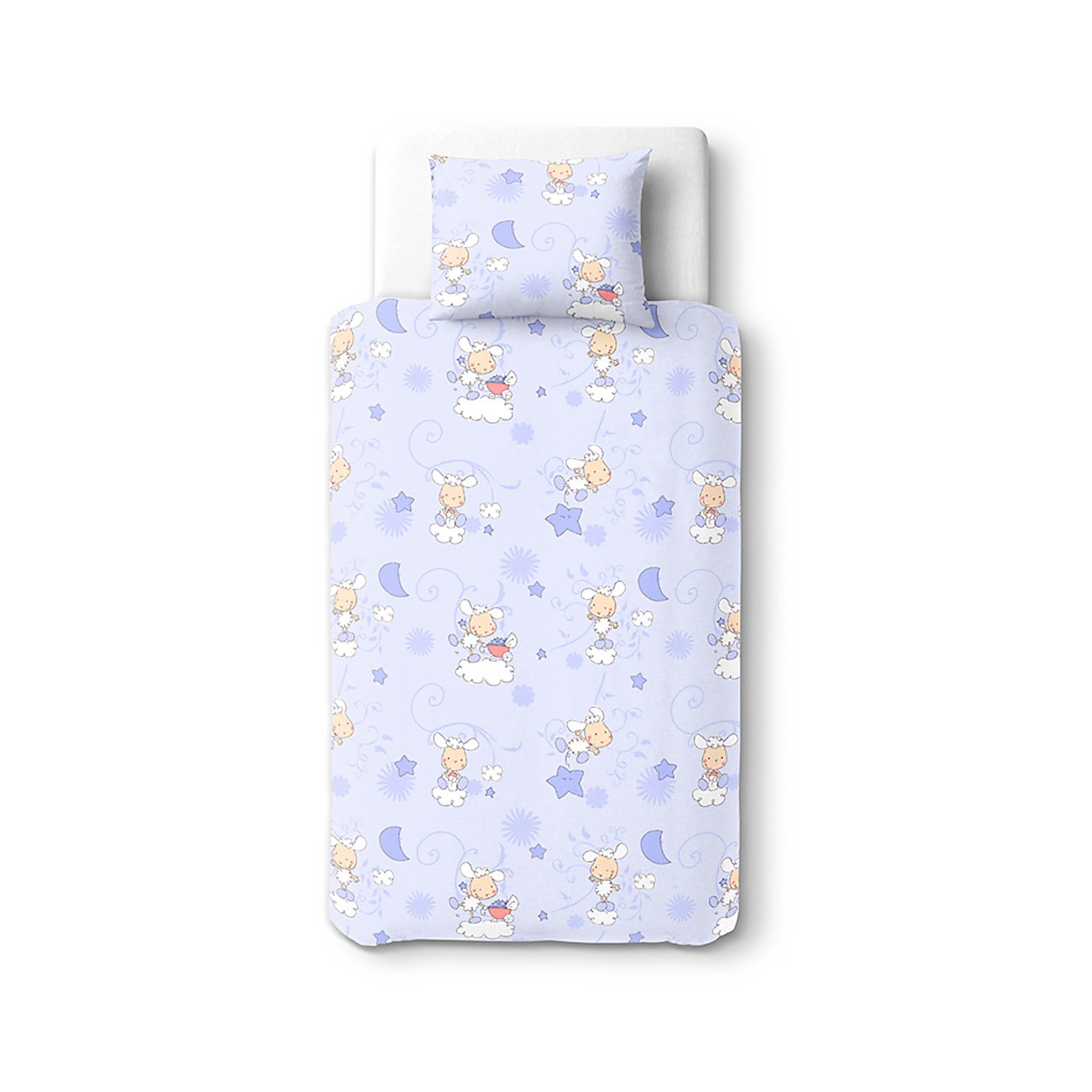Baby Happy Lambs (Blue) – SoulBedroom 100% Cotton Bed Set (Duvet Cover 39''x 55'' cm & Pillow Case 15''x 23'' cm)