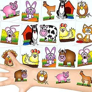 German Trendseller® 12 x tatuajes temporales granja┃ fiestas infantiles┃ idea de regalo┃piñata┃cumpleaños de niños┃ 12 unidades…