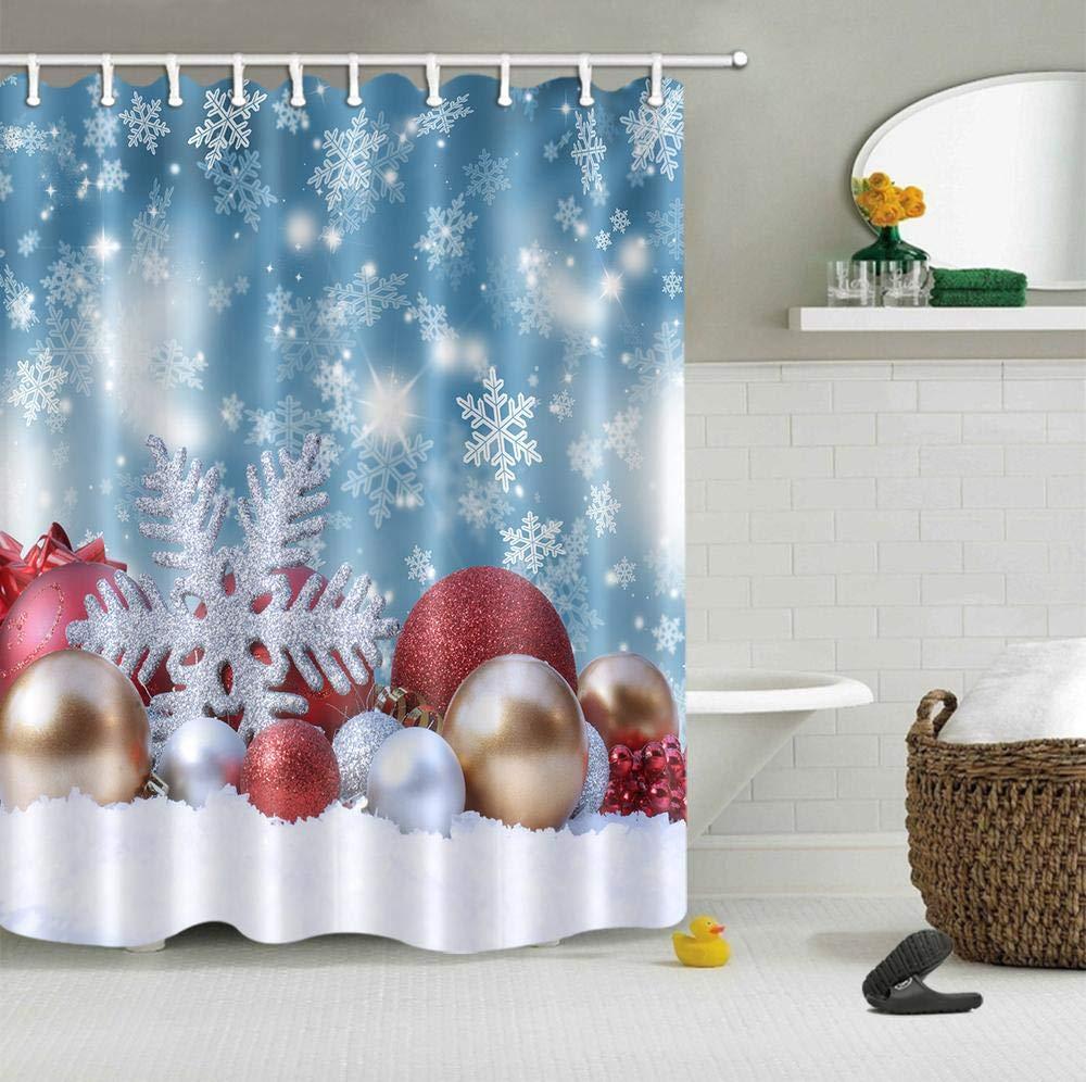 LB Weihnachten Duschvorhang,weiße Schneeflocken,Goldene Kugeln Kunst ...