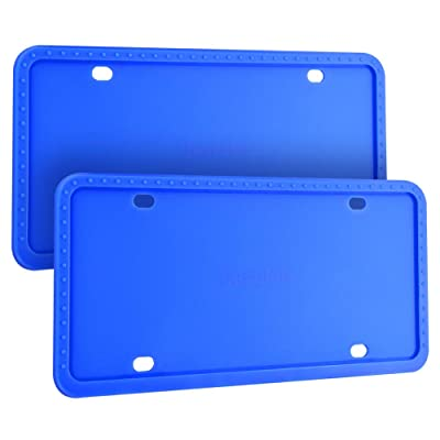 Deselen Silicone License Plate Frame, Minimalist and Stylish, 2 Pack, Blue: Automotive